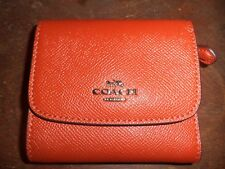 NWT COACH ORANGE LEATHER WALLET CHANGE PURSE NWT $135 VINTAGE STYLE ACCESSORY