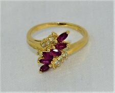 Vintage 14 K Yellow Gold 6 Rubies 8 Diamond 0.88 TCW Ring Size 6 - 3.2 Grams