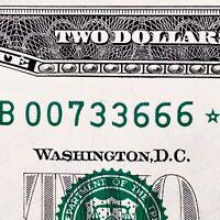 2013 $2 FRN Fancy Serial Number B00733666* EVIL 007 JAMES BOND 666 STAR NOTE