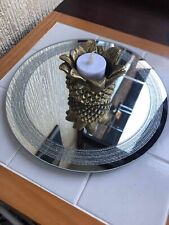 25CM DECORATIVE GLASS MIRRORED CANDLE PLATE BLING WEDDING TABLE ROUND PLATE NEW