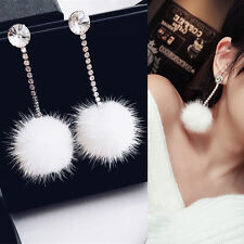 Vintage Fur Ball Rhinestone Women Long Pom Pom Ball Dangle Earrings Jewelry Gift