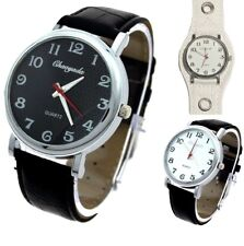 Chaoyada BIG 42mm with numbers Women,Men Faux Leather Analog Quartz Wrist watch