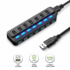 7 Port USB 3.0 HUB 5Gbps High Speed Data Power Splitter Adapter ON/OFF Switch