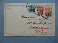GERMANY INFLATION, uprated prestamped PC(card) to Belgium 12-01-1922, total 1,80