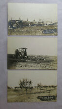 c 1912 Lot 3 RPPC Real Photo Postcards ST. HELEN Mich TRACTOR THRESHING MACHINE