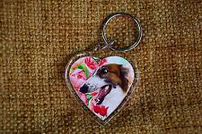 Borzoi Hound Gift Keyring Dog Key Ring heart shaped gift Birthday Gift