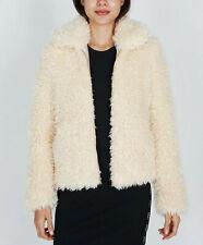 Obey Women's Faux Fur Jacket Shay Bomber Cream Size XS NWT Shepard Fairey
