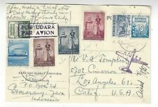 1957 Semerang Indonesia Airmail to Los Angeles California Seven Stamps