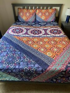 Lands End full/queen reversible quilt w/ vibrant colors lightweight spring