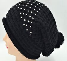 Warm Winter Ski Beanie Crochet Hat Slouchy Oversized Crystal Bling Studded