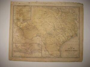 ANTIQUE 1852 TEXAS HANDCOLORED DATED MAP GALVESTON HOUSTON DALLAS AUSTIN RARE NR