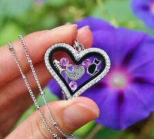 Mother's Day Cat Lover Living Locket Necklace Floating Charms Purple Kitty