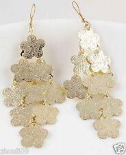 9k Yellow Gold Filled Women Elegant Rhinestone Ear Stud dangle Earrings e491