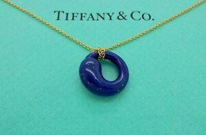 Vintage Tiffany & Co. Peretti Eternal Circle Lapis Lazuli Yellow Gold Necklace