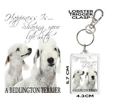 BEDLINGTON TERRIER KEYRING Can Be Personalised,  Happiness Is...