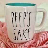 "NEW! Rae Dunn Easter ""PEEP'S SAKE"" w/ Blue Inside Coffee Tea Mug Cup 2021 VHTF"