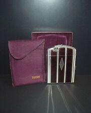 Vintage Ronson Art Metal Cigarette Case Lighter Combo Felt Case in Box