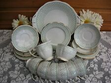 More details for queen anne/bell china (shore & coggins) 21 pce.tea set. green/white v.g. cond.