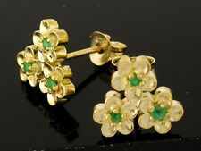 E067 Genuine 9K Solid Yellow Gold Natural Emerald Blossom Flower Stud Earrings