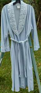 Delicates Blue Velvet Quilted Trim Belted Robe Bath Velour Night Size M Canada
