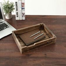 Dark Wood Desktop Office Supplies Document Amp Paper Tray With Metal Label Holder