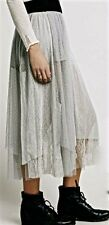 NWT Free People gray Mesh Lace Tulle Maxi Skirt  L