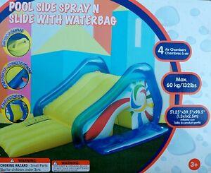 Pool Side Spray N Slide Inflatable Slide + Water Bag Backyard Outdoor Garden
