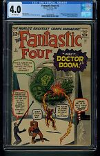 Fantastic Four #5 (1962) CGC Graded 4.0 ~ Dr. Doom ~ Stan Lee ~ Jack Kirby