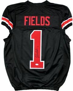Justin Fields Signed Autographed Ohio State Buckeyes Custom Black Jersey Beckett