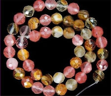new 4mm Faceted Multicolored Watermelon Tourmaline Gems loose Beads 15""
