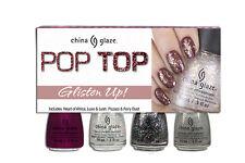 China Glaze Nail Polish - Pop Top - GLISTEN UP - 4 Bottles Set