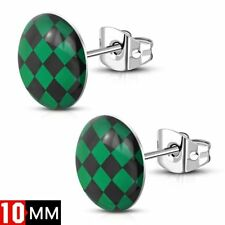 Grid Checker Round Circle Stud Earrings 10mm Stainless Steel with Acrylic Green
