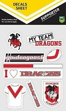 620036 ST GEORGE ILLAWARRA DRAGONS NRL SET OF 9 MIXED DECALS CAR STICKERS ITAG