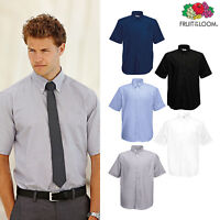 Men's Oxford Short Sleeve Shirt - Fruit of the Loom Formal Smart button Work top