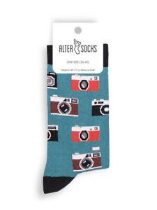 Camera Socks (Pair) Blue Photography Gift Print - Unisex Men and Womens