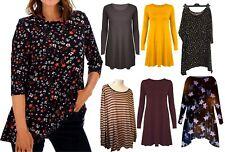 New Women Ladies Long Sleeve Swing Midi Dress Flared Skater Dress Top Plus Size