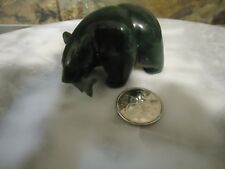 VINTAGE CANADIAN DARK GREEN JADE-CARVED BEAR FIGURE WITH FISH-SMALL-RARE