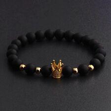 Men's Charm Luxury Crown Natural Stone Matte Black Copper Bead Fashion Bracelets