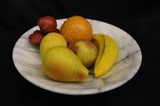 "9pc Antique Hand Painted Italian Alabaster Fruit Set w/8"" Marble Pedestal Bowl"