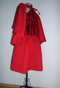 Rotkäppchen ROCK + roter Umhang mit Kapuze Kostüm Cape Fasching Kapuzenumhang