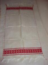 """Antique Cotton Damask Runner or Towel Red Leaves, Fringe 32""""x 18"""""""