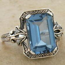Sterling Silver Ring Size 4.75, #494 4 Ct. Sim Aquamarine Antique Design .925