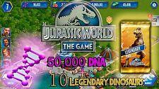 Jurassic WORLD The Game Builder 100,000 DNA + LEGENDARY PACKS Android iOS park