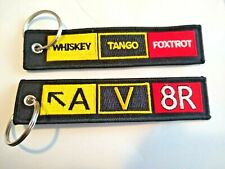 🔥 AV8R/ Whiskey Tango Foxtrot Embroidered Key Chain Cars atv Jeep Airplanes wtf