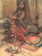 PAINTING WOMAN RUG JEWELS ARABIC ILLUSTRATION ROBINSON SONG ENGLISH PRINT BB8831