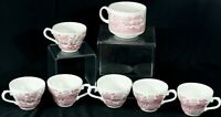 Vintage Willow Teacups and Mug Red White Churchill Made in England Asian Scene
