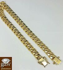 "Real 10k Gold Miami Cuban Bracelet 7mm 8"" Inch Box Lock strong Link, Rope Men's"