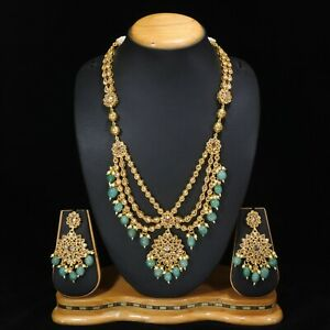 Indian Traditional Gold Polki Stone Mint Green Beads Necklace Jewelry Set