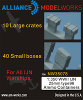 Alliance Model Works 1:350 WWII IJN 25mm type96 Ammo Containers #NW35078