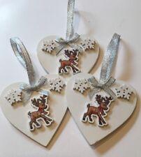 3 x Renne Noël Suspendu Décorations Shabby Chic flocons de neige Blanc Bows